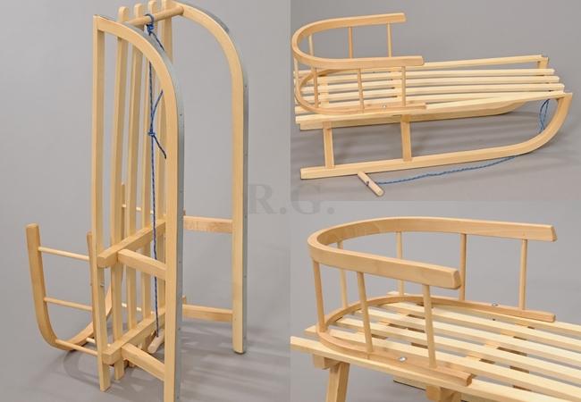 holzschlitten mit r ckenlehne schlitten kinderschlitten zugseil schneeflitzer ebay. Black Bedroom Furniture Sets. Home Design Ideas