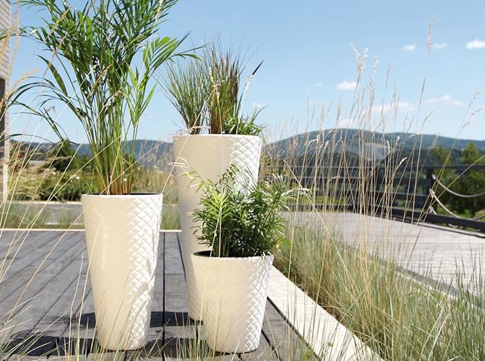 Blumenkübel Pflanztopf Blumentopf Slim Design Optik-Rattan 550mm 780mm
